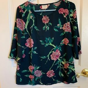 Anthropologie Floral Peony Blouse Navy Pink Size 6